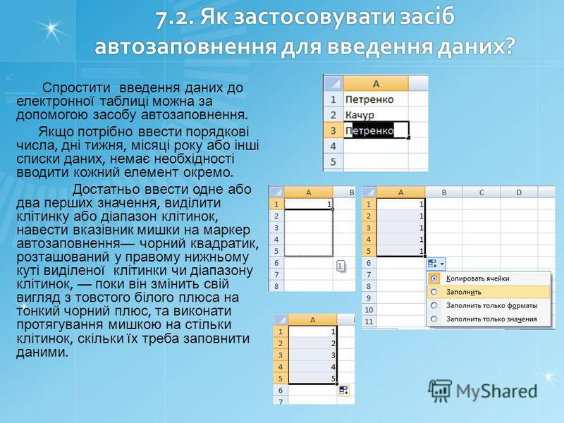 7.2. Як застосовувати засіб автозаповнення для введення даних? Спростити введення даних до електронної таблиці можна за допомогою засобу автозаповнення. Якщо потрібно ввести порядкові числа, дні тижня, місяці року або інші списки даних, немає необхід