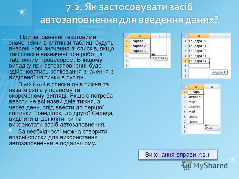 7.2. Як застосовувати засіб автозаповнення для введення даних? При заповненні текстовими значеннями в клітинки таблиці будуть внесені нові значення зі списків, якщо такі списки визначені при роботі з табличним процесором. В іншому випадку при автозап