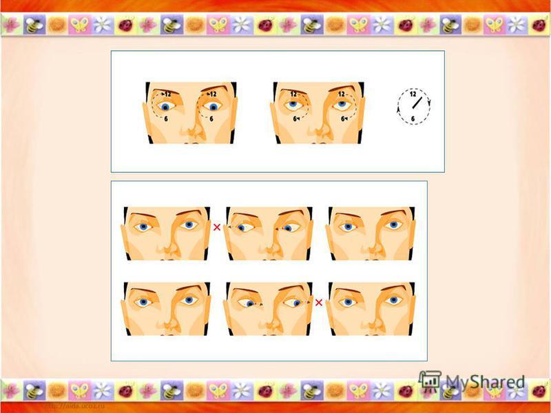 Комплексы включают в себя следующие упражнения: -Моргание, -Зажмуривание, -Перемещение взгляда в разных направлениях (вправо – влево, вверх – вниз, по кругу, по диагонали и т. д.), глаза при этом могут быть открыты или закрыты, -Рассматривание далеки