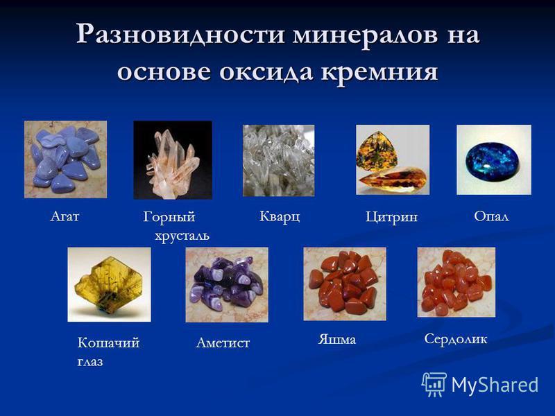 Разновидности минералов на основе оксида кремния Агат Горный хрусталь Кварц Цитрин Кошачий глаз Аметист Яшма Сердолик Опал