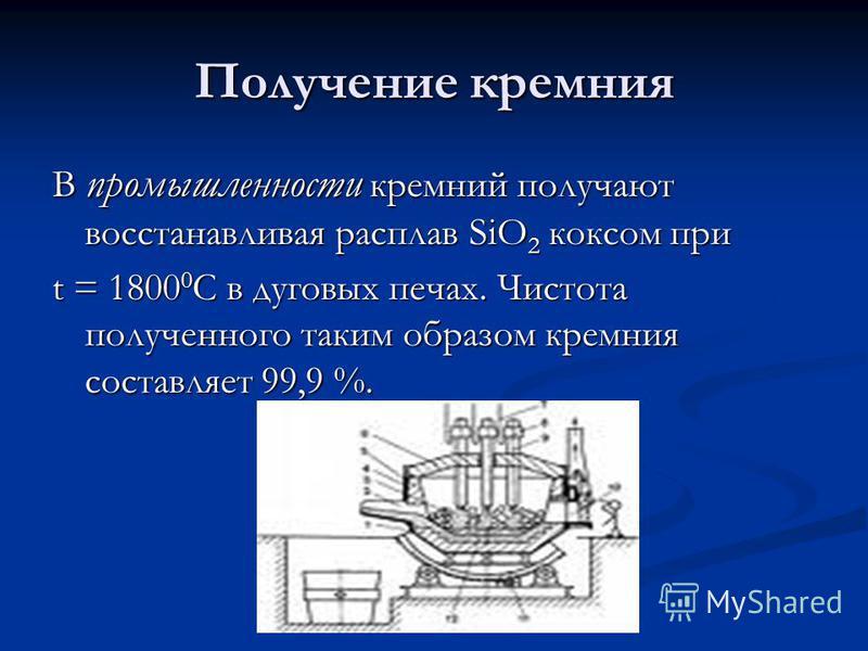 Получение кремния В промышленности кремний получают восстанавливая расплав SiO 2 коксом при t = 1800 0 C в дуговых печах. Чистота полученного таким образом кремния составляет 99,9 %.