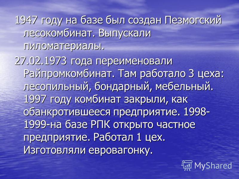 1947 году на базе был создан Пезмогский лесокомбинат. Выпускали пиломатериалы. 27.02.1973 года переименовали Райпромкомбинат. Там работало 3 цеха: лесопильный, бондарный, мебельный. 1997 году комбинат закрыли, как обанкротившееся предприятие. 1998- 1