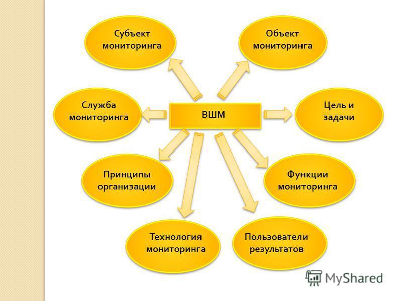 ВШМ Субъект мониторинга Объект мониторинга Служба мониторинга Цель и задачи Принципы организации Функции мониторинга Технология мониторинга Пользователи результатов