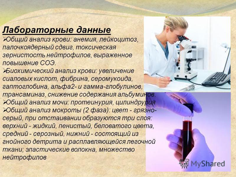 Лабораторные данные Общий анализ крови: анемия, лейкоцитоз, палочкоядерный сдвиг, токсическая зернистость нейтрофилов, выраженное повышение СОЭ. Биохимический анализ крови: увеличение сиаловых кислот, фибрина, серомукоида, гаптоглобина, альфа 2- и га