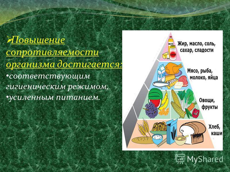 Повышение сопротивляемости организма достигается: соответствующим гигиеническим режимом, усиленным питанием.