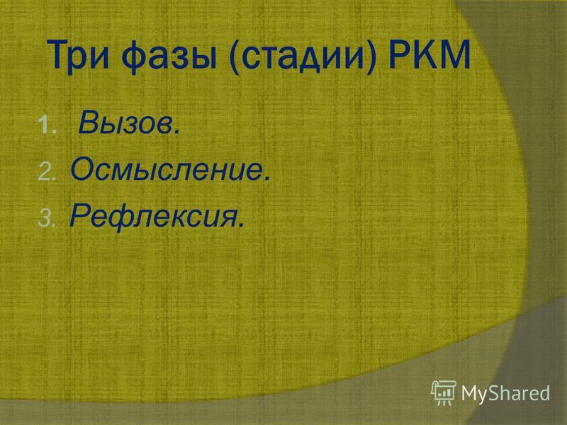 Три фазы (стадии) РКМ 1. Вызов. 2. Осмысление. 3. Рефлексия.