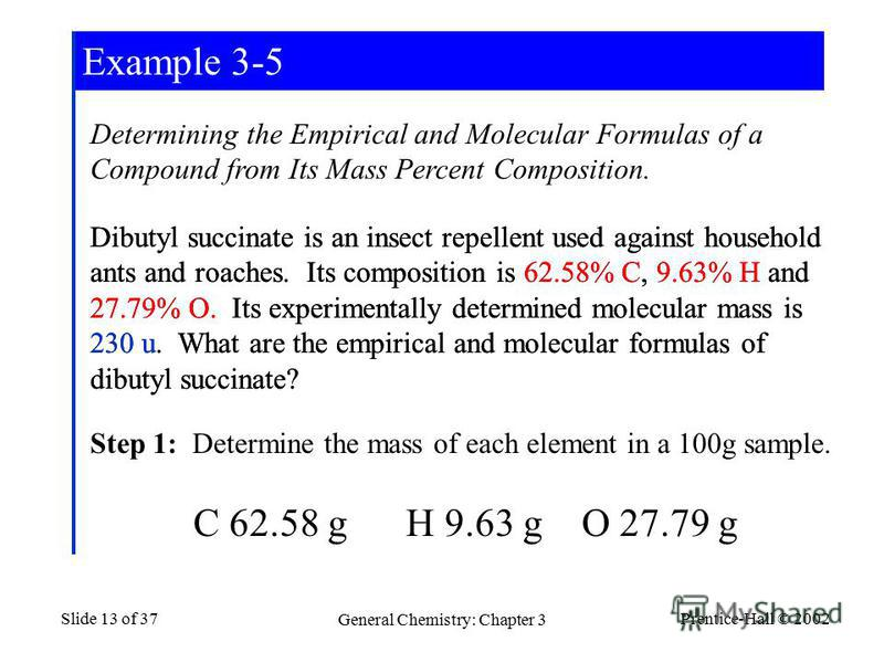Prentice-Hall © 2002 General Chemistry: Chapter 3 Slide 13 of 37 Determining the Empirical and Molecular Formulas of a Compound from Its Mass Percent Composition. Dibutyl succinate is an insect repellent used against household ants and roaches. Its c