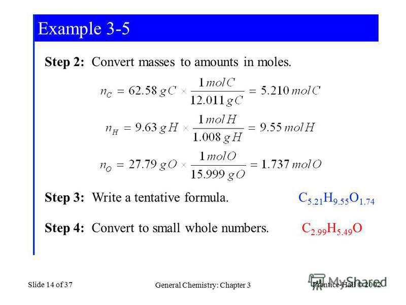 Prentice-Hall © 2002 General Chemistry: Chapter 3 Slide 14 of 37 Step 2: Convert masses to amounts in moles. Step 3: Write a tentative formula. Step 4: Convert to small whole numbers. C 5.21 H 9.55 O 1.74 C 2.99 H 5.49 O Example 3-5