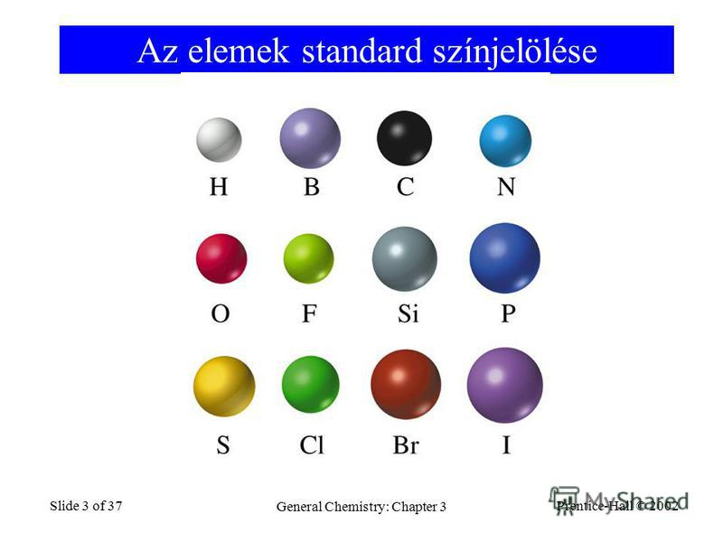 Prentice-Hall © 2002 General Chemistry: Chapter 3 Slide 3 of 37 Az elemek standard színjelölése