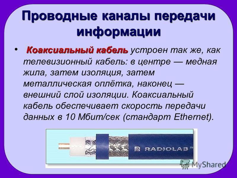 Проводные каналы передачи информации Коаксиальный кабель Коаксиальный кабель устроен так же, как телевизионный кабель: в центре медная жила, затем изоляция, затем металлическая оплётка, наконец внешний слой изоляции. Коаксиальный кабель обеспечивает