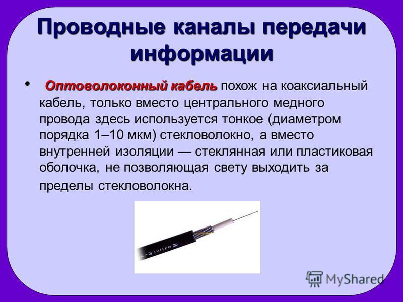 Проводные каналы передачи информации Оптоволоконный кабель Оптоволоконный кабель похож на коаксиальный кабель, только вместо центрального медного провода здесь используется тонкое (диаметром порядка 1–10 мкм) стекловолокно, а вместо внутренней изоляц