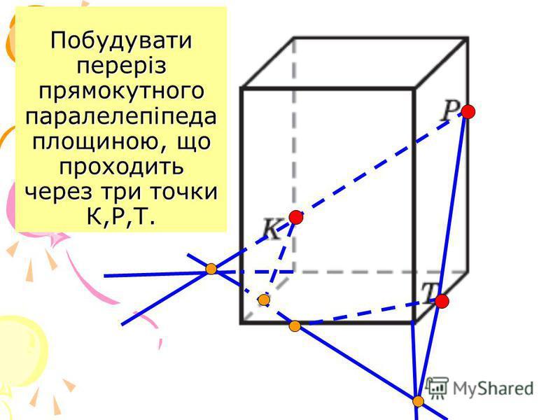 Побудувати переріз прямокутного паралелепіпеда площиною, що проходить через три точки К,Р,Т.