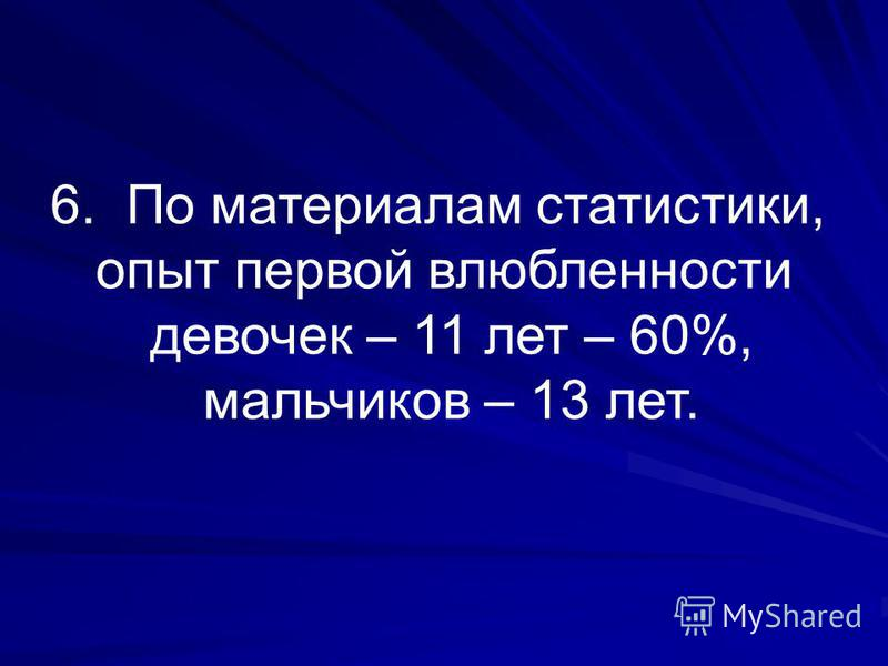 6. По материалам статистики, опыт первой влюбленности девочек – 11 лет – 60%, мальчиков – 13 лет.