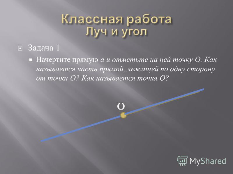 Задача 1 Начертите прямую а и отметьте на ней точку О. Как называется часть прямой, лежащей по одну сторону от точки О ? Как называется точка О ? О