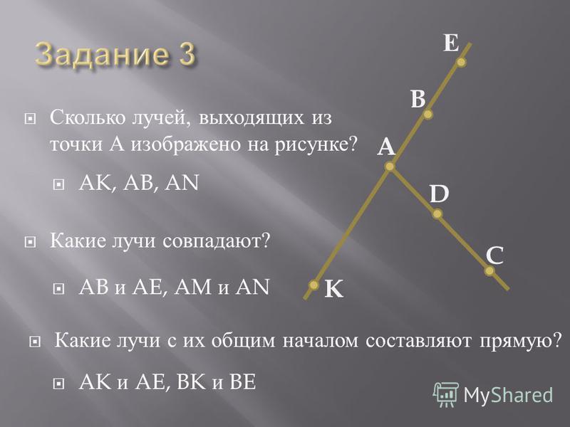 Сколько лучей, выходящих из точки А изображено на рисунке ? Какие лучи совпадают ? Какие лучи с их общим началом составляют прямую ? AK, AB, AN AB и AE, AM и AN AK и AE, BK и BE K C D A B Е
