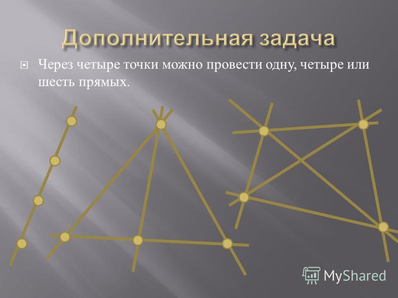 Через четыре точки можно провести одну, четыре или шесть прямых.