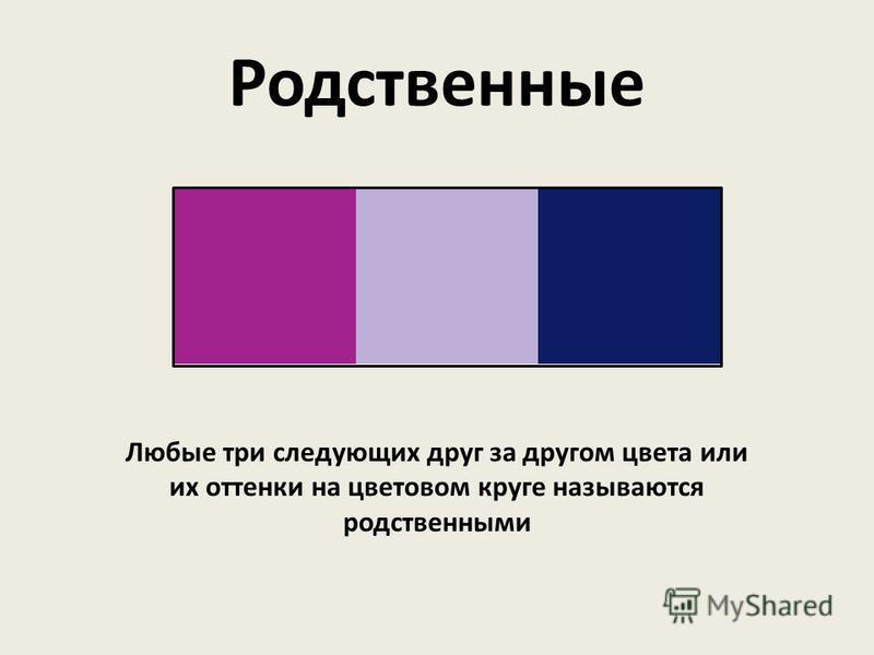 Любые три следующих друг за другом цвета или их оттенки на цветовом круге называются родственными Родственные