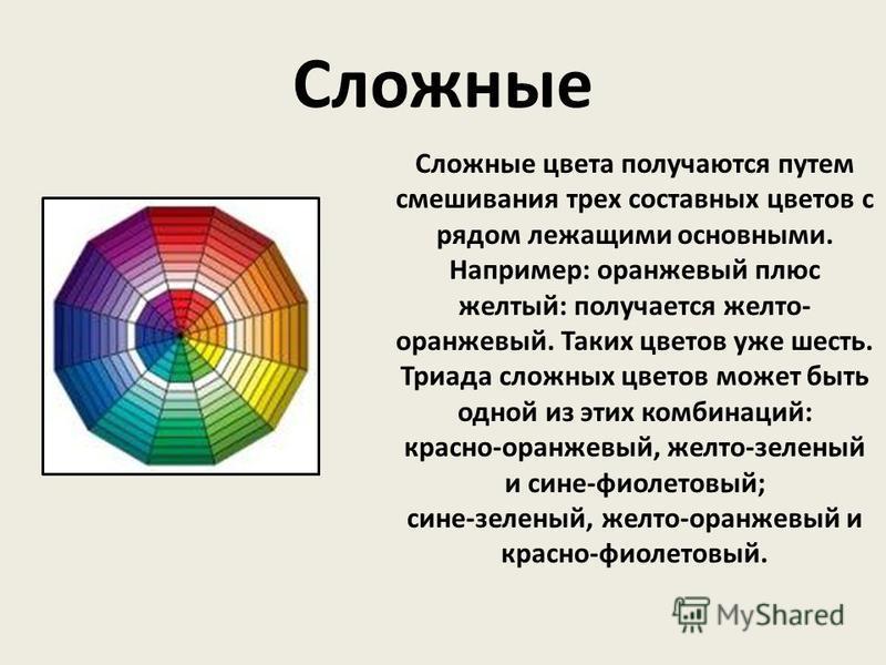 Сложные цвета получаются путем смешивания трех составных цветов с рядом лежащими основными. Например: оранжевый плюс желтый: получается желто- оранжевый. Таких цветов уже шесть. Триада сложных цветов может быть одной из этих комбинаций: красно-оранже
