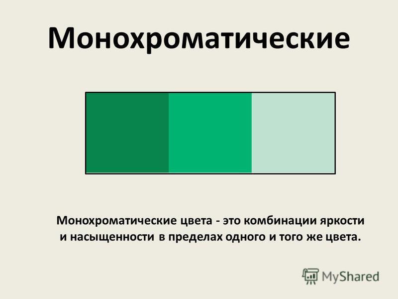 Монохроматические цвета - это комбинации яркости и насыщенности в пределах одного и того же цвета. Монохроматические