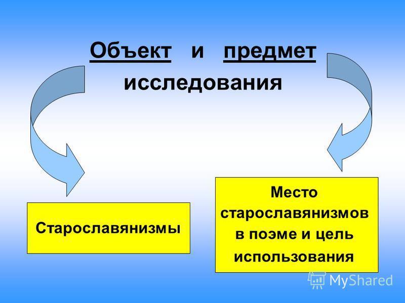 Объект и предмет исследования Старославянизмы Место старославянизмов в поэме и цель использования