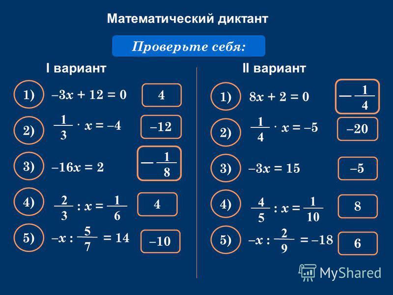 Математический диктант Решите уравнение: –3 х + 12 = 0 Проверьте себя: 4 1) –10 2) 4 3) –12–12 4) 5) –х : = 14 5757 1818 –16 x = 2 · х = –4 1313 1616 : х = 2323 II вариантI вариант 8 х + 2 = 0 –5 1) 6 2) 8 3) –20 4) 5) –х : = –18 2929 –3 x = 15 · х =