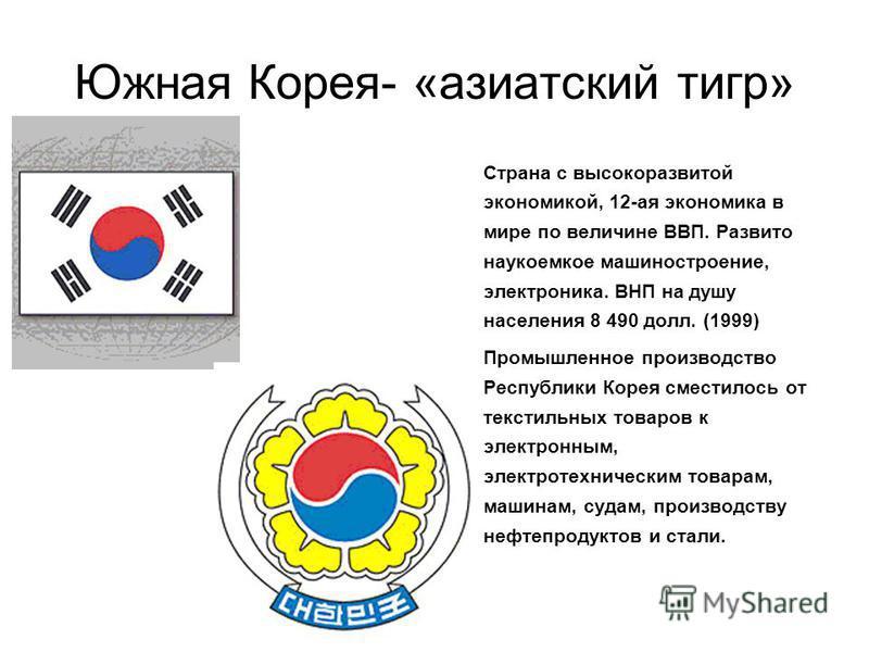 Южная Корея- «азиатский тигр» Страна с высокоразвитой экономикой, 12-ая экономика в мире по величине ВВП. Развито наукоемкое машиностроение, электроника. ВНП на душу населения 8 490 долл. (1999) Промышленное производство Республики Корея сместилось о