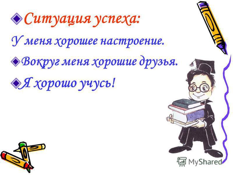 Ситуация успеха: У меня хорошее настроение. Вокруг меня хорошие друзья. Я хорошо учусь!