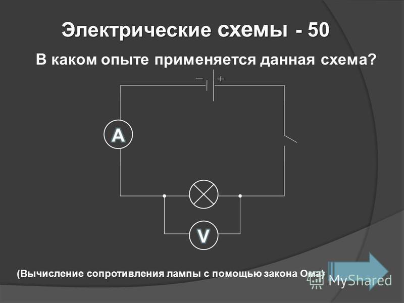 Электрические схемы - 50 В каком опыте применяется данная схема? (Вычисление сопротивления лампы с помощью закона Ома)