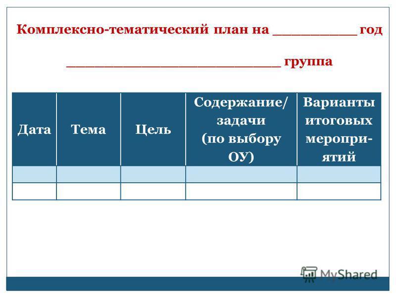 Комплексно-тематический план на _________ год _______________________ группа Дата ТемаЦель Содержание/ задачи (по выбору ОУ) Варианты итоговых меропри- ятий