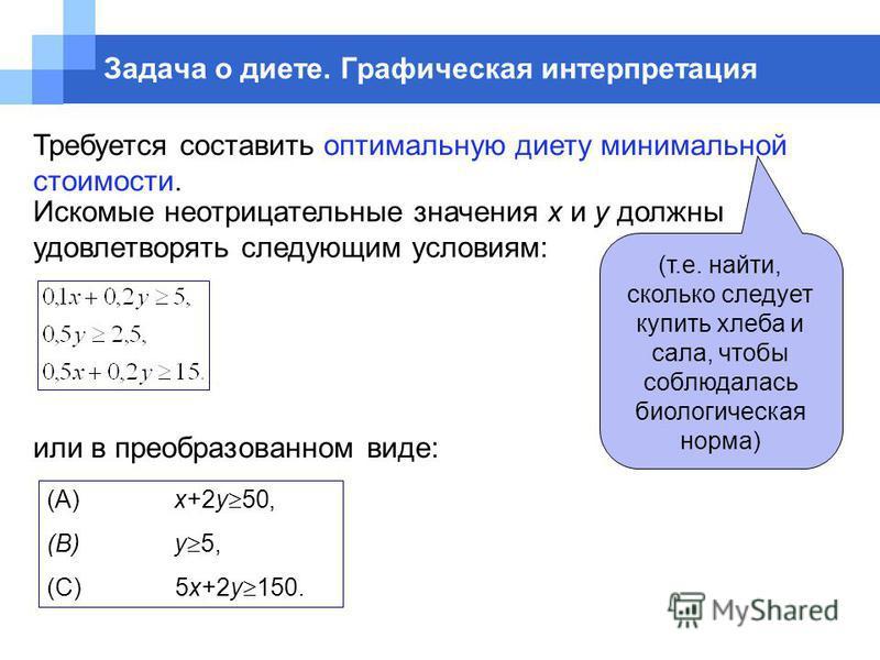 Требуется составить оптимальную диету минимальной стоимости. или в преобразованном виде: (А) x+2y 50, (B) y 5, (C) 5x+2y 150. Задача о диете. Графическая интерпретация (т.е. найти, сколько следует купить хлеба и сала, чтобы соблюдалась биологическая