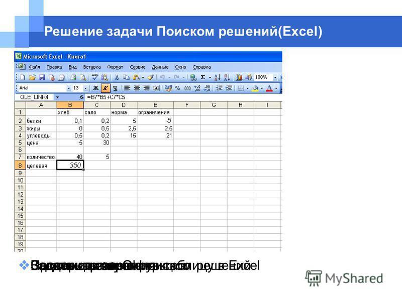 Создать и заполнить таблицу в Excel Решение задачи Поиском решений(Excel) Задать целевую функцию Задать ограничения Воспользоваться поиском решений Задать ограничения Проверить параметры Выполнить >> Оk