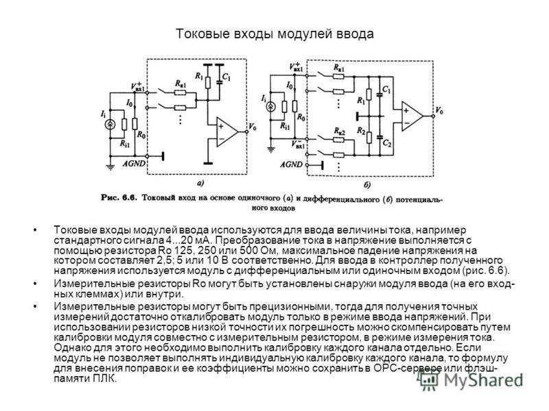 Токовые входы модулей ввода Токовые входы модулей ввода используются для ввода величины тока, например стандартного сигнала 4...20 мА. Преобразование тока в напряжение выполняется с помощью резистора Ro 125, 250 или 500 Ом, максимальное падение напря