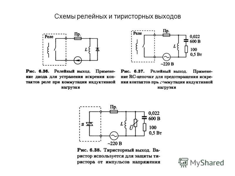 Схемы релейных и тиристорных выходов