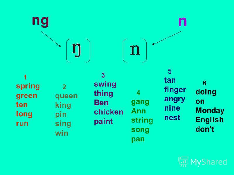 ng n 1 spring green ten long run 2 queen king pin sing win 3 swing thing Ben chicken paint 4 gang Ann string song pan 5 tan finger angry nine nest 6 doing on Monday English dont