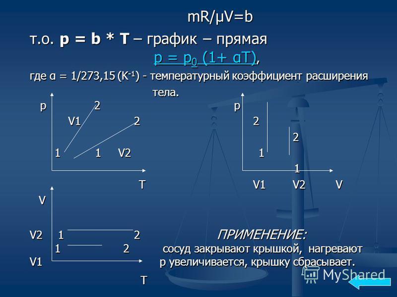 mR/μV=b т.о. р = b * T – график – прямая p = p 0 (1+ αT), где α = 1/273,15 (K -1 ) - температурный коэффициент расширения т.о. р = b * T – график – прямая p = p 0 (1+ αT), где α = 1/273,15 (K -1 ) - температурный коэффициент расширения p = p 0 (1+ αT