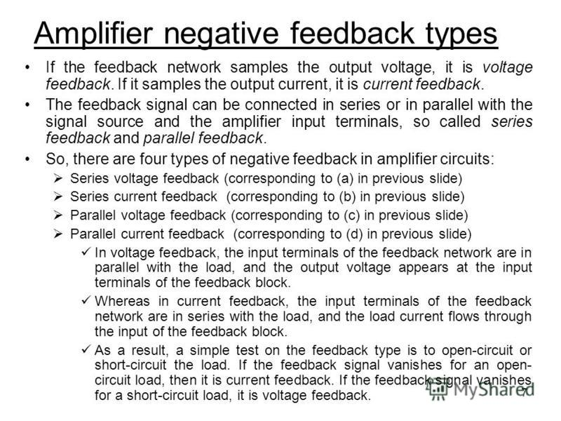 7 If the feedback network samples the output voltage, it is voltage feedback. If it samples the output current, it is current feedback. The feedback signal can be connected in series or in parallel with the signal source and the amplifier input termi