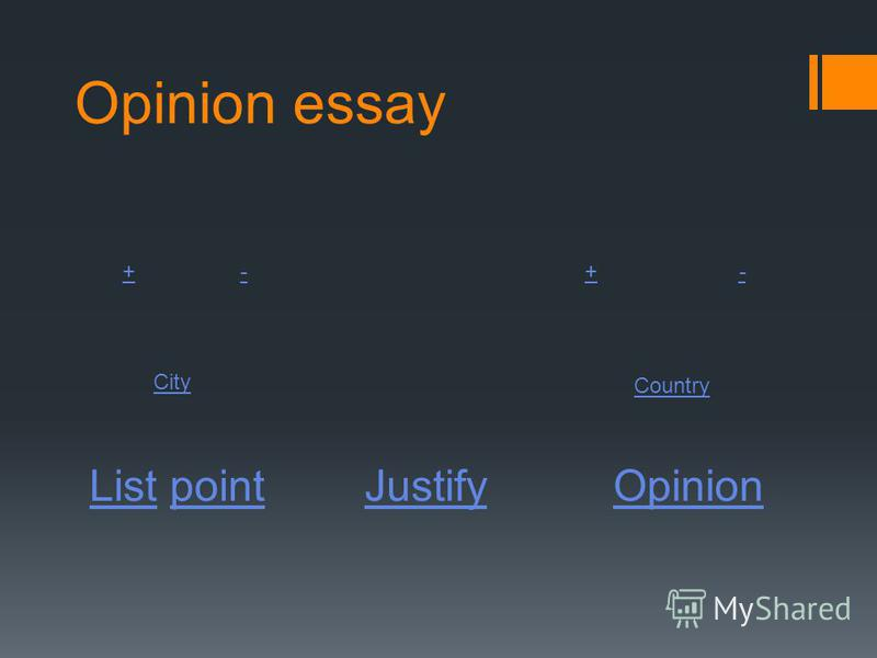 Opinion essay ListList pointpointJustify Opinion +-+- City Country