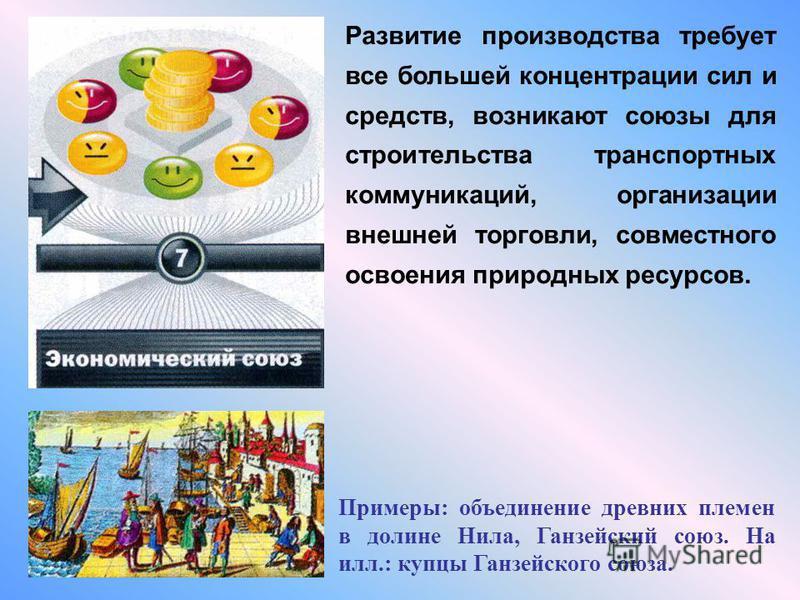 Развитие производства требует все большей концентрации сил и средств, возникают союзы для строительства транспортных коммуникаций, организации внешней торговли, совместного освоения природных ресурсов. Примеры: объединение древних племен в долине Нил