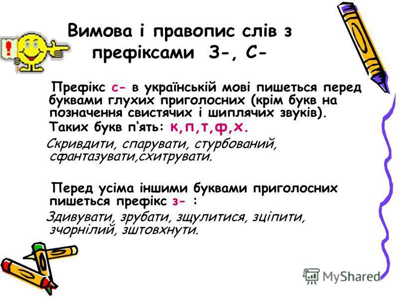 Вимова і правопис слів з префіксами З-, С- Префікс с- в українській мові пишеться перед буквами глухих приголосних (крім букв на позначення свистячих і шиплячих звуків). Таких букв пять: к,п,т,ф,х. Скривдити, спарувати, стурбований, сфантазувати,схит
