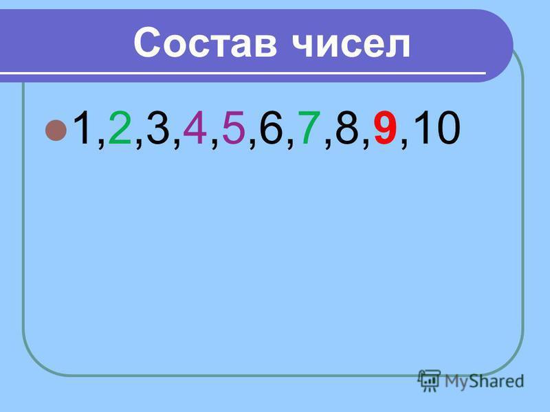 Состав чисел 1,2,3,4,5,6,7,8,9,10
