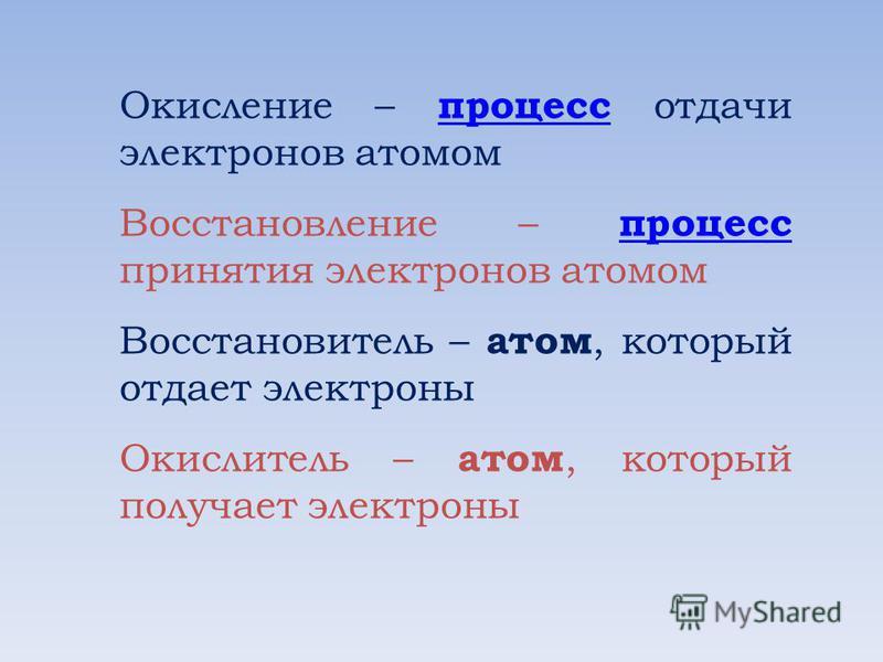 Окисление – процесс отдачи электронов атомом процесс Восстановление – процесс принятия электронов атомом процесс Восстановитель – атом, который отдает электроны Окислитель – атом, который получает электроны
