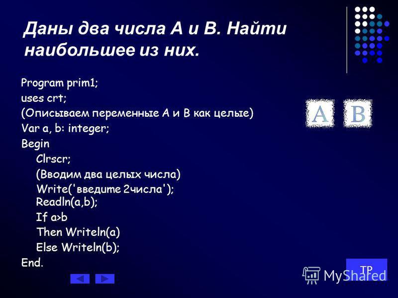 Условный оператор Условные операторы в Turbo Pascal помогают нам осуществить