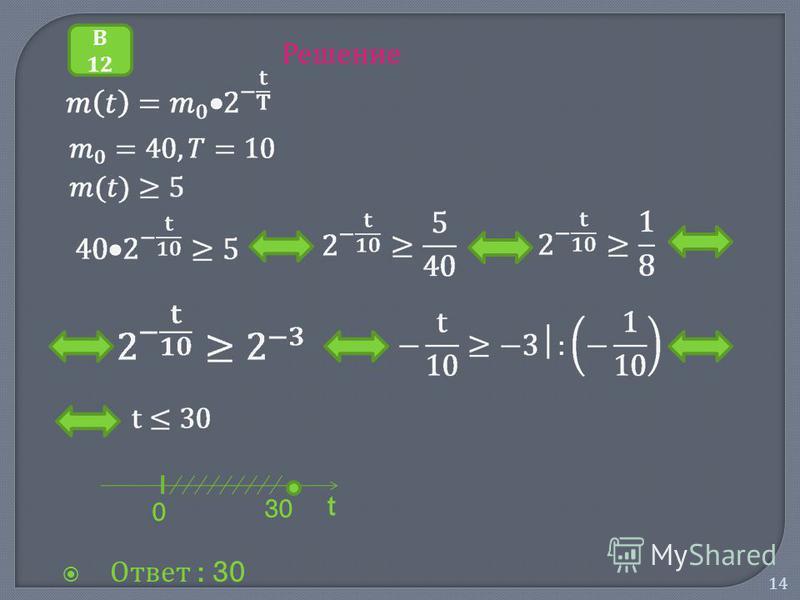 14 Решение Ответ : 30 В 12 30 t 0