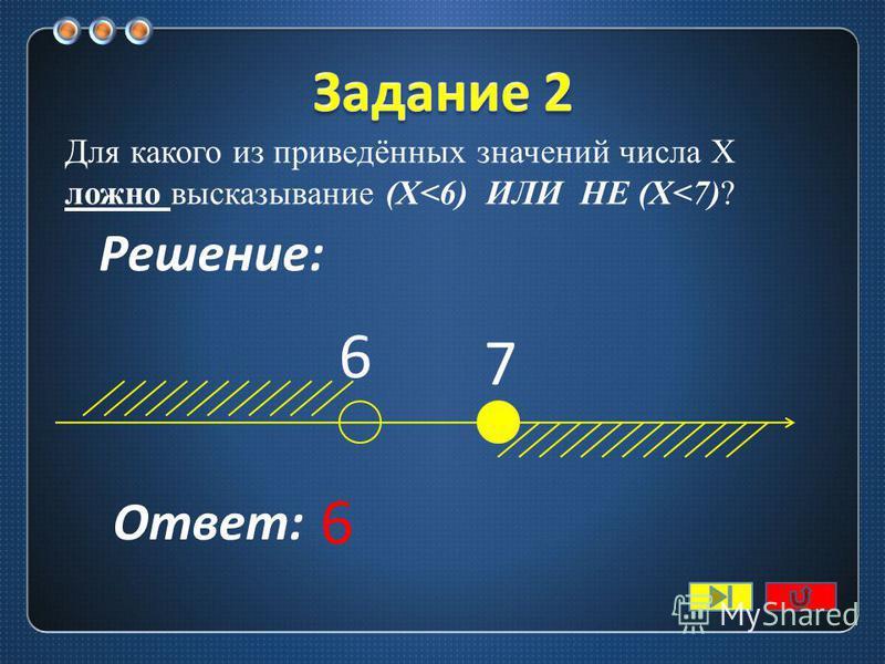 Для какого из приведённых значений числа X истинно высказывание (X<7) И НЕ (Х<6)? 6 7 Ответ: 6 Решение: