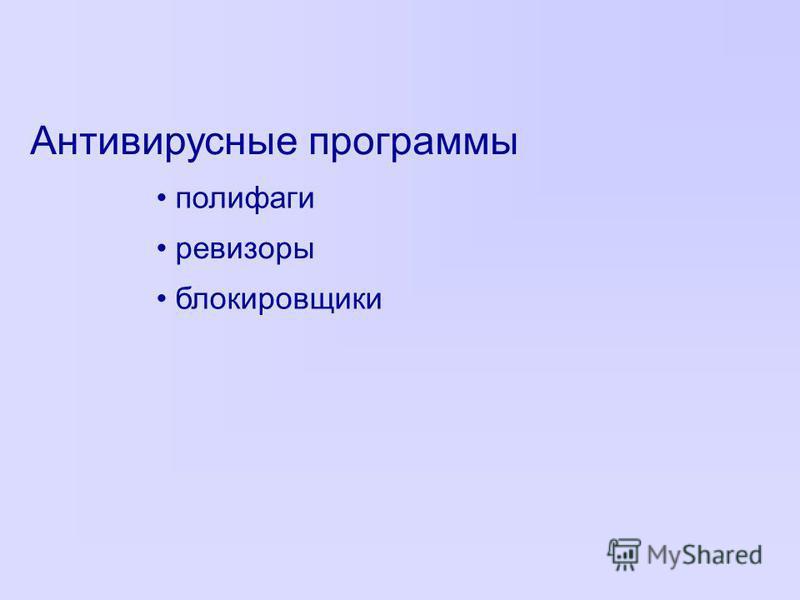 Антивирусные программы полифаги ревизоры блокировщики