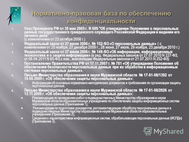 1. Указ Президента РФ от 30 мая 2005 г. N 609