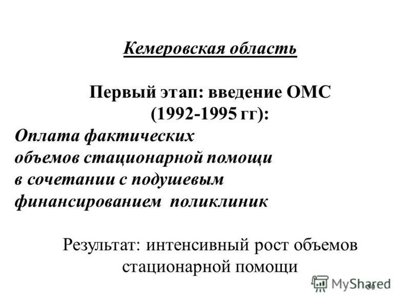50 Кемеровская область Первый этап: введение ОМС (1992-1995 гг): Оплата фактических объемов стационарной помощи в сочетании с подушевым финансированием поликлиник Результат: интенсивный рост объемов стационарной помощи