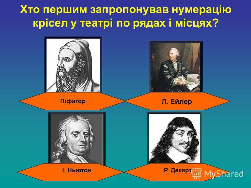 Хто першим запропонував нумерацію крісел у театрі по рядах і місцях? І. Ньютон Л. Ейлер Піфагор Р. Декарт