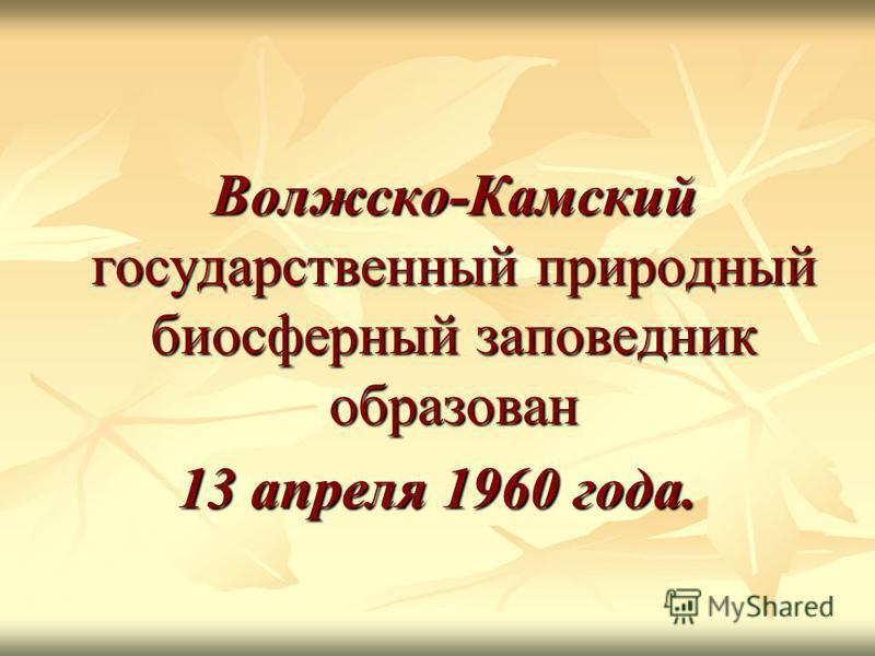 Волжско-Камский государственный природный биосферный заповедник образован 13 апреля 1960 года.