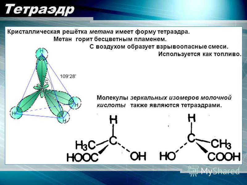 Тетраэдр Кристаллическая решётка метана имеет форму тетраэдра. Метан горит бесцветным пламенем. С воздухом образует взрывоопасные смеси. Используется как топливо. Молекулы зеркальных изомеров молочной кислоты также являются тетраэдрами.